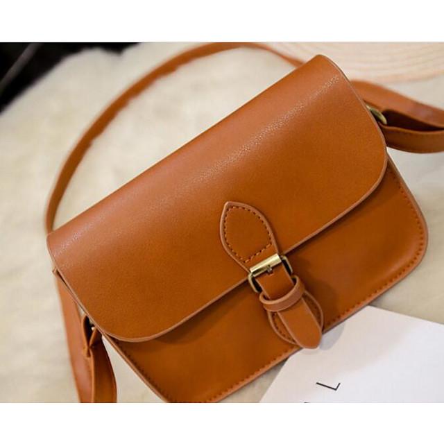 Women's Bags PU(Polyurethane) Shoulder Messenger Bag for Casual / Outdoor White / Black / Brown