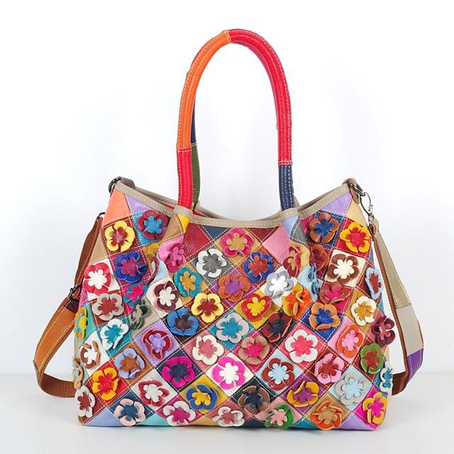 Women's Bags Leather Cowhide Top Handle Bag Petal Floral Split Joint Vintage Daily Retro Leather Bags Handbags Rainbow Black / White