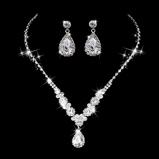 Women's AAA Cubic Zirconia Drop Earrings Choker Necklace Bridal Jewelry Sets Drop Luxury Elegant Vintage Cubic Zirconia Earrings Jewelry Silver For Wedding Anniversary Party Evening Ceremony