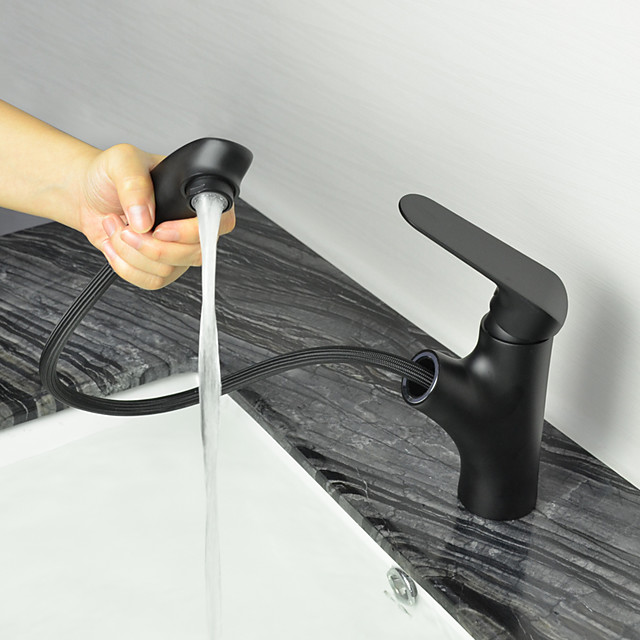 Bathroom Sink Faucet - Pullout Spray Oil-rubbed Bronze Centerset Single Handle One HoleBath Taps
