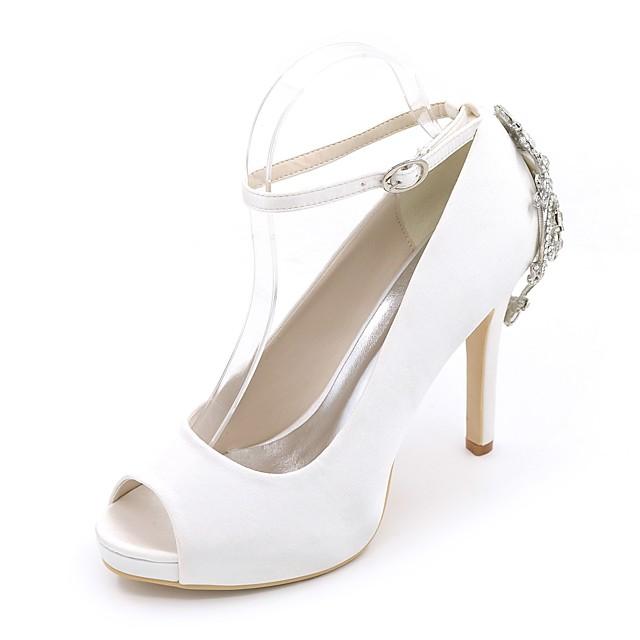 Women's Wedding Shoes Stiletto Heel Peep Toe Rhinestone Satin Basic Pump Spring / Summer White / Purple / Champagne / Party & Evening