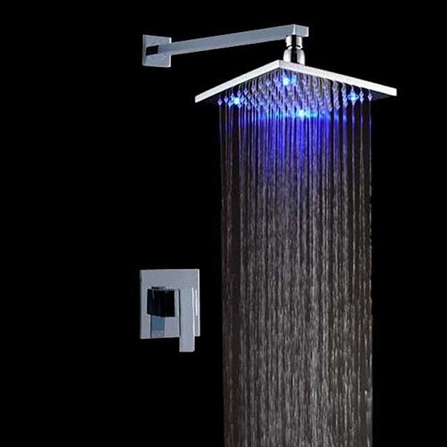 Shower Faucet Set - Rainfall Contemporary / LED Chrome Wall Mounted Ceramic Valve Bath Shower Mixer Taps / Brass