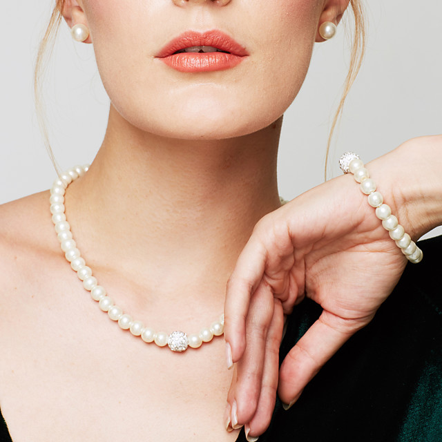Women's Pearl Chain Bracelet Beaded Necklace Ladies Elegant Fashion Bridal Pearl Imitation Diamond White Necklace Jewelry For Wedding Party Daily Casual Masquerade Engagement Party / Pearl Necklace