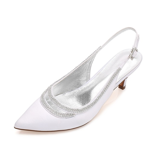 Women's Wedding Shoes Kitten Heel / Cone Heel / Low Heel Pointed Toe Rhinestone / Sparkling Glitter / Hollow-out Satin Comfort / Mary Jane / D'Orsay & Two-Piece Spring / Summer Blue / Champagne