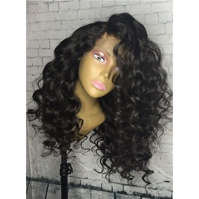 Remy Human Hair Glueless Lace Front Lace Front Wig style Brazilian Hair Curly Wig 150% 180% Density with Baby Hair Natural Hairline African American Wig 100% Hand Tied Women's Medium Length Long