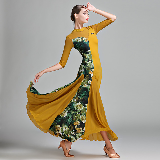 Ballroom Dance Dress Pattern / Print Splicing Women's Half Sleeve Natural Tulle Lycra Ice Silk