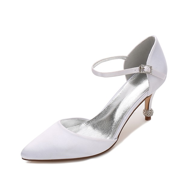 Women's Satin Spring / Summer Comfort / D'Orsay & Two-Piece Wedding Shoes Kitten Heel / Cone Heel / Low Heel Pointed Toe Hollow-out Blue / Champagne / Ivory / Party & Evening