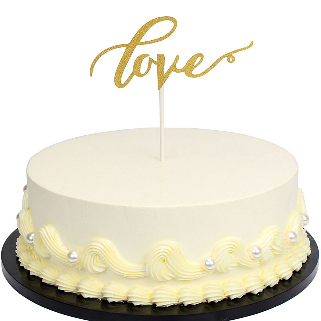 P/&T LOVE Cake Topper Sparkle Glitter Gold Wedding Decorating Engagement Partha
