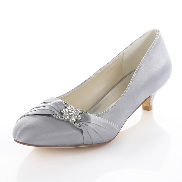Women's Wedding Shoes Glitter Crystal Sequined Jeweled Kitten Heel Round Toe Crystal Elastic Fabric Basic Pump Spring / Fall Red / Blue / Silver / Party & Evening / EU42