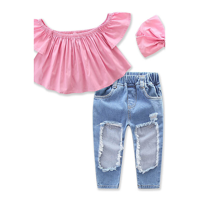 Toddler Girls' Sweet Daily Solid Colored Hole Short Sleeve Clothing Set Blushing Pink