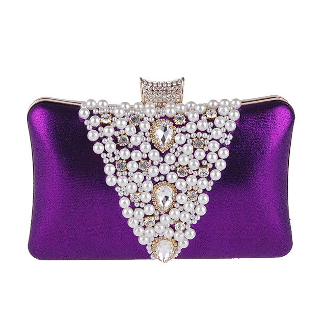 Women's Bags PU Leather Polyester Evening Bag Rhinestone Pearls Party Wedding Event / Party Wedding Bags Handbags Black Purple Gold Silver