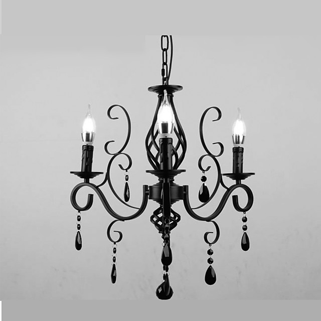 3-Light 58 cm Crystal / Candle Style Chandelier Metal Others Modern Contemporary 110-120V / 220-240V