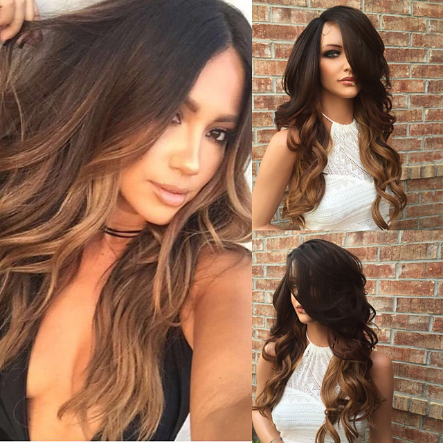 Human Hair Glueless Lace Front Lace Front Wig Layered Haircut Kardashian style Brazilian Hair Wavy Body Wave Ombre Two Tone Wig 130% Density with Baby Hair Ombre Hair Natural Hairline Glueless Women's