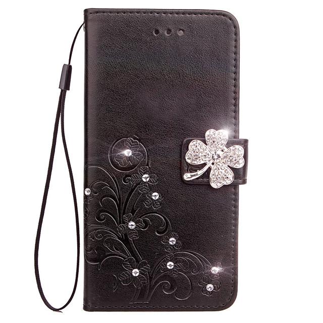 Phone Case For LG G3 LG LG G4 Full Body Case Leather Wallet Card LG G6 Wallet Card Holder Rhinestone Flower / Floral Hard PU Leather