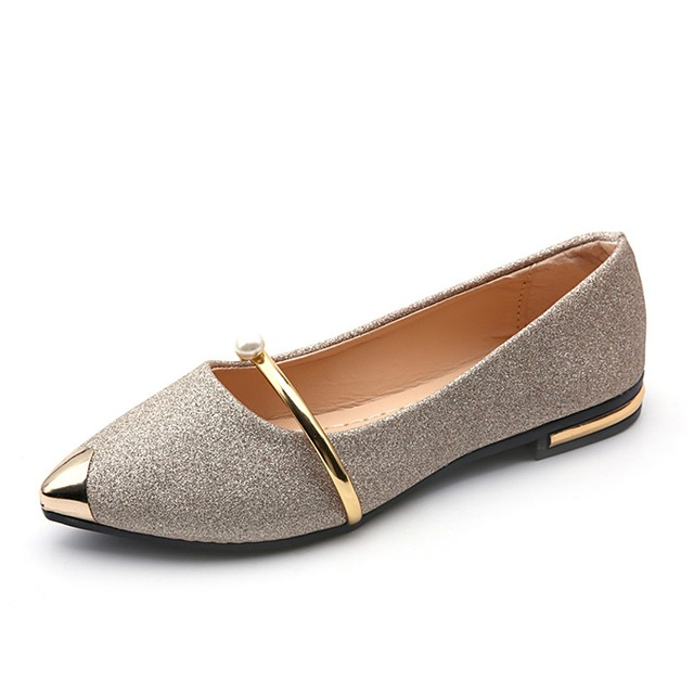 Women's Flats Flat Heel Pointed Toe Pearl PU(Polyurethane) Light Soles Summer Gold / Black / Silver / Dress / EU39