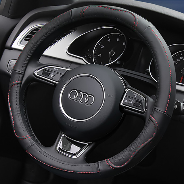 Steering Wheel Covers Leather 38cm Black / Blue / Red For universal General Motors All years