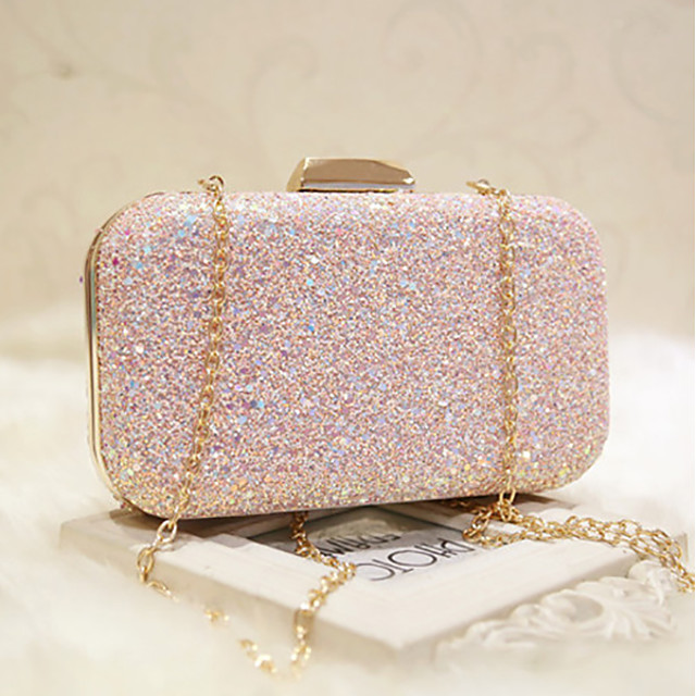 Women's Bags Faux Leather Evening Bag Sequin Chain Glitter Shine Party Wedding Event / Party Evening Bag Wedding Bags Handbags White Blushing Pink