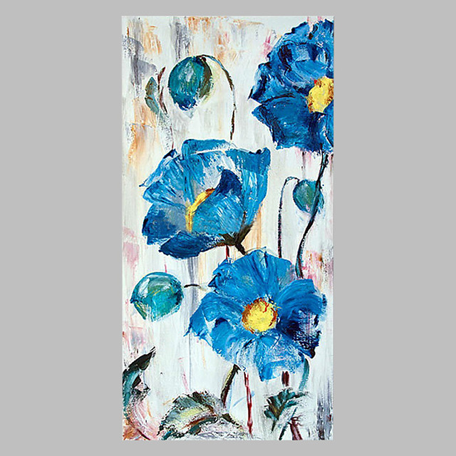 Hand-Painted Floral/Botanical Vertical Panoramic,Artistic Abstract Outdoor One Panel Canvas Oil Painting For Home Decoration