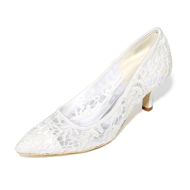 Women's Wedding Shoes Stiletto Heel Pointed Toe Satin Basic Pump Spring / Summer Black / White / Ivory / EU40