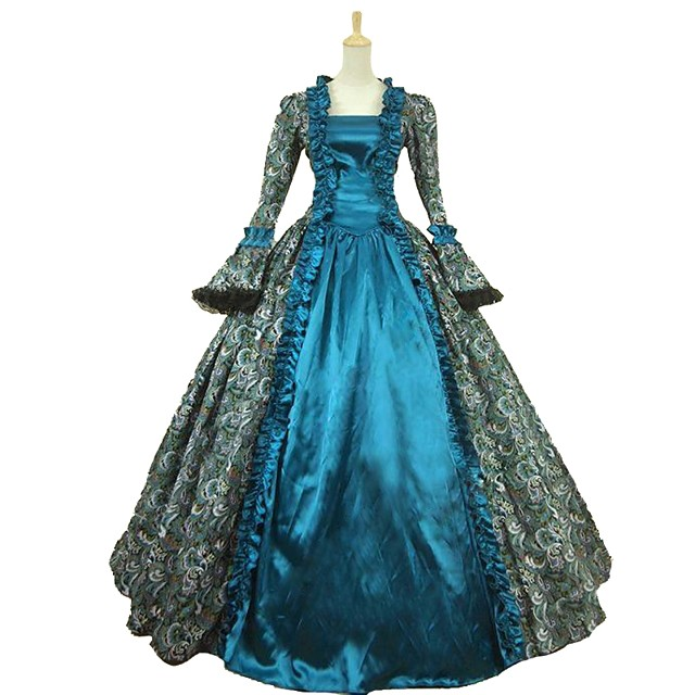 Cinderella Goddess Rococo Medieval Renaissance Cosplay Costume Masquerade Women's Satin Costume Blue Vintage Cosplay Party Prom Ball Gown Plus Size Customized / Dress / Dress