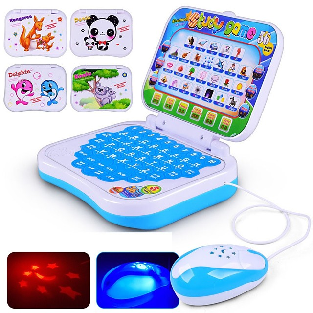 Educational Toy Toy Computer Laptop Smart intelligent Music & Light with Bilingual Story Song Novelty with Screen Kid's Boys' Girls' Toy Gift