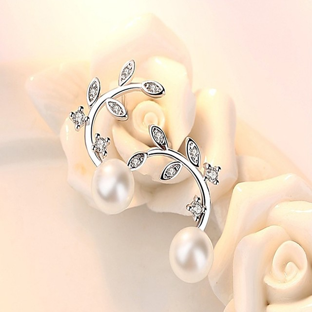 Women's Pearl AAA Cubic Zirconia Stud Earrings Leaf Dainty Ladies Fashion Pearl Sterling Silver Earrings Jewelry White and Sliver For Daily Work