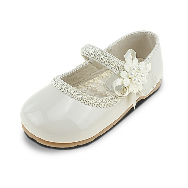 Girls' Comfort / Flower Girl Shoes Leatherette Flats Little Kids(4-7ys) Imitation Pearl / Appliques / Magic Tape Beige Spring & Summer / Wedding / Square Toe / Wedding / TPR (Thermoplastic Rubber)
