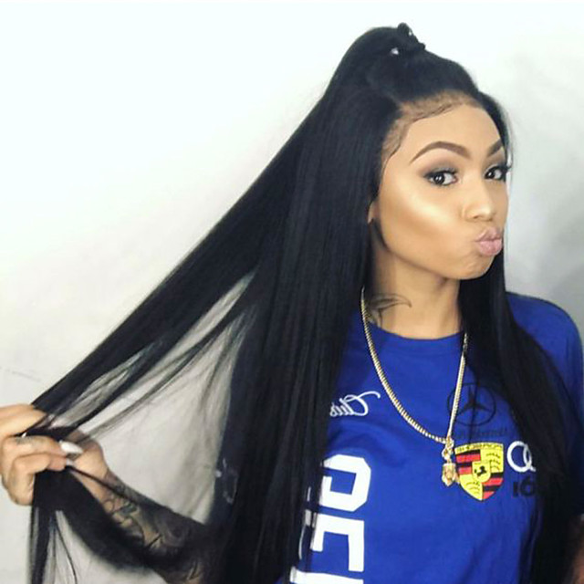 Human Hair Glueless Full Lace Full Lace Wig Style Brazilian Hair Straight Wig 150 Density With Baby Hair Natural Hairline Women S Long Human Hair Lace Wig Elva Hair 6260200 2020 275 85