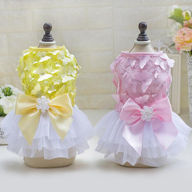 Dog Dress Dog Clothes Yellow Pink Costume 100% Polyester Princess Casual / Daily XS S M L XL