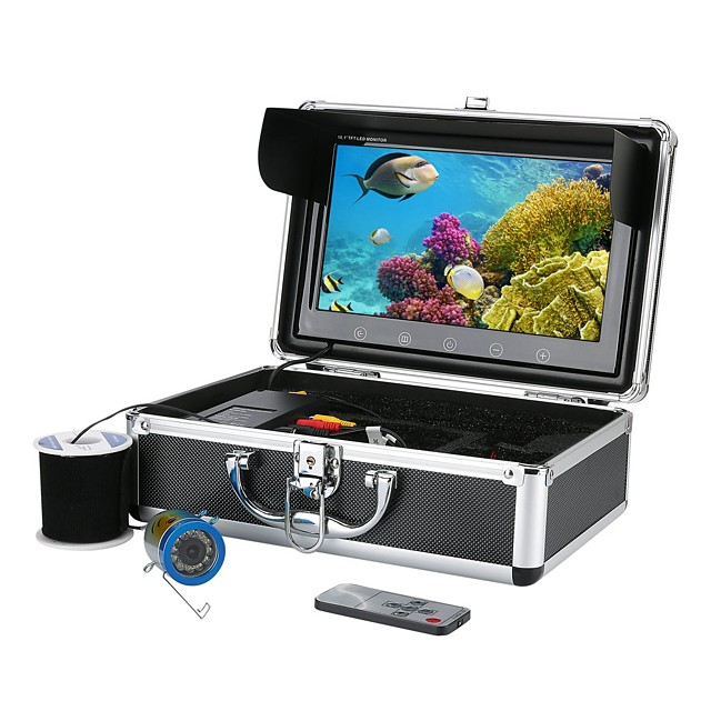 MOUNTAINONE 10 Inch Color Monitor 30M HD 1000tvl Underwater professional Fishing Video Camera Kit 12 PCS Infrared Lamp Lights - Fun to See Fish Biting