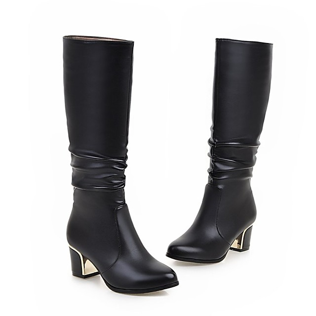 Women's Boots Chunky Heel Round Toe Faux Leather Mid-Calf Boots Fashion Boots Winter White / Black / EU40