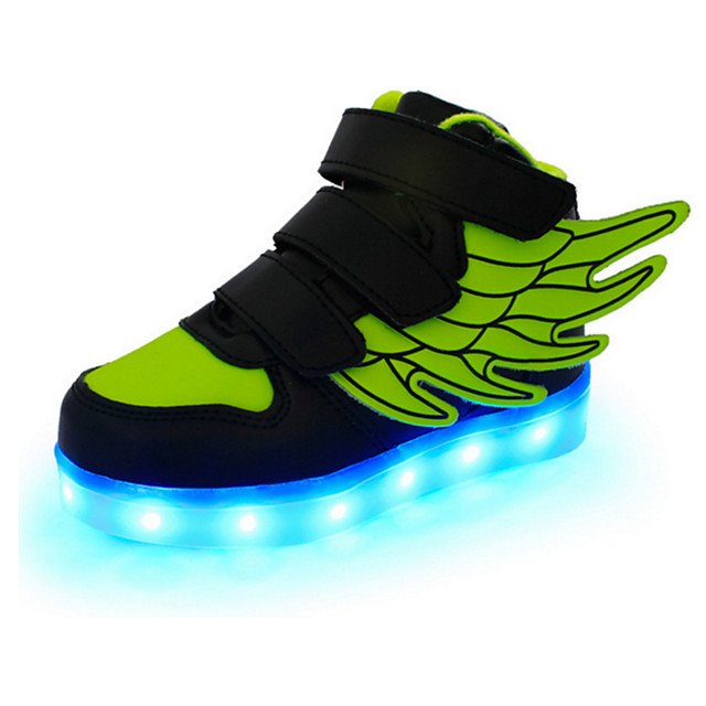 Boys' LED / LED Shoes / USB Charging Leather Sneakers Wings Shoes Little Kids(4-7ys) / Big Kids(7years +) Magic Tape / LED / Luminous White / Black / Red Spring / Fall / Rubber