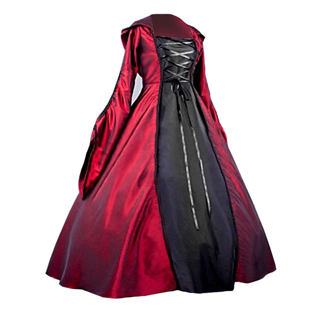 Queen Victoria Gothic Lolita Victorian Dress Women's Girls' Satin Cotton Party Prom Japanese Cosplay Costumes Plus Size Customized Red Ball Gown Patchwork Poet Sleeve Long Sleeve Long Length