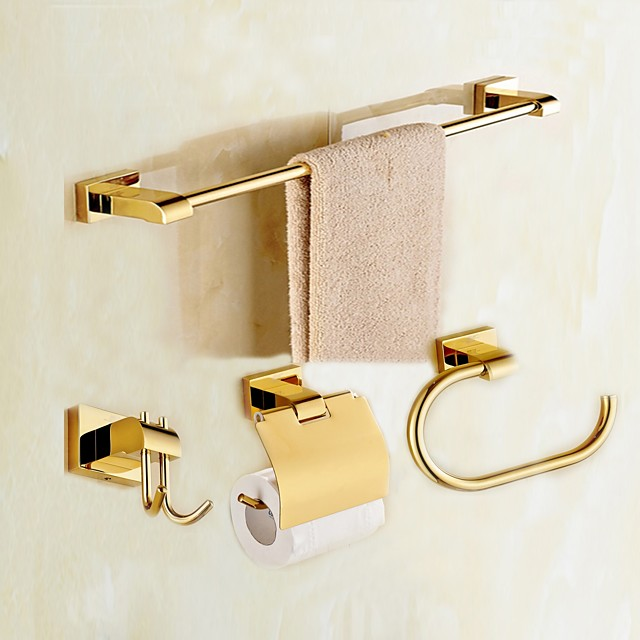 Bathroom Accessory Set Brass Material Inculde Toilet Paper Holders/ Robe Hook / Towel Single Rod Wall Mounted Golden 4pcs
