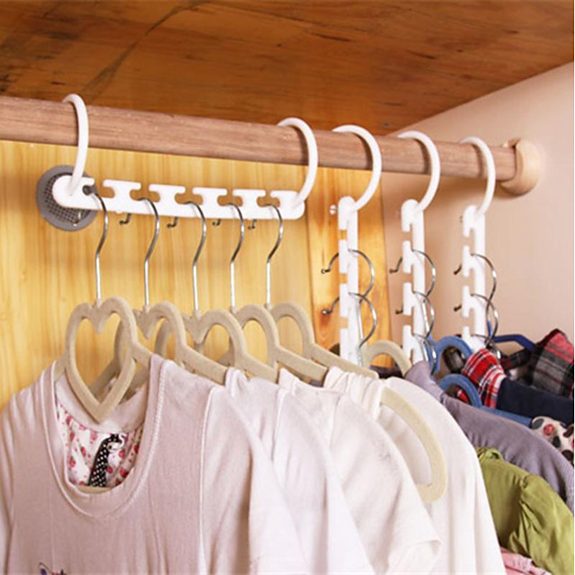 Plastic Hangers Rectangle Geometric Pattern Home Organization Storage 1 set