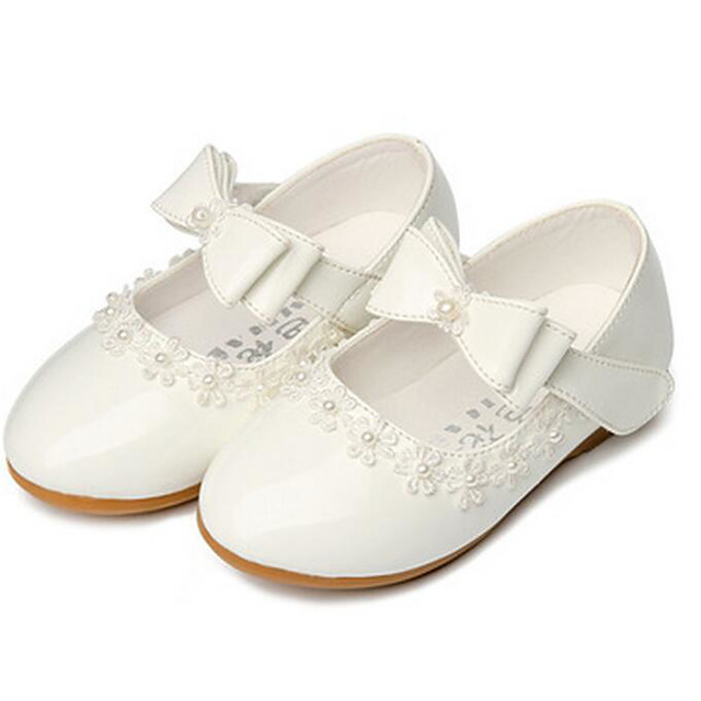 Girls' Flats Mary Jane Flower Girl Shoes Halloween PU Mary Jane Little Kids(4-7ys) Casual Red White Fall Spring