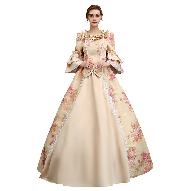 Rococo Victorian 18th Century Dress Party Costume Masquerade Ball Gown Women's Lace Satin Costume Pink Vintage Cosplay Party Prom 3/4 Length Sleeve Floor Length Ball Gown Plus Size Customized