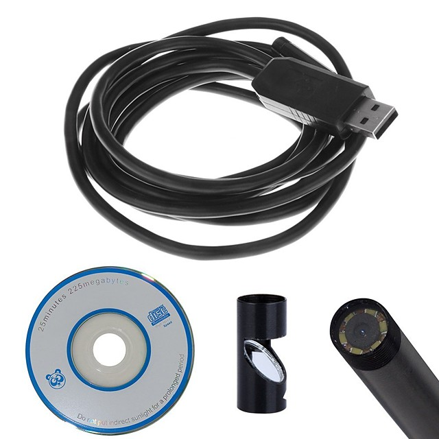 USB Endoscope 7mm Dia 5m Cord Soft Wire Cable Mini Camera CMOS Waterproof 6 LED Borescope Inspection Endoscopio Cam Snake Video