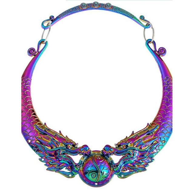Collier Pendentif Femme Diamant synthétique Dragon Rétro Vintage Chunky Argent Arc-en-ciel Colliers Tendance Bijoux pour Soirée Quotidien