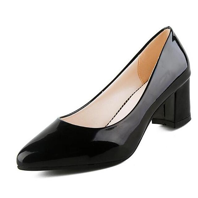 Women's Heels Chunky Heel Closed Toe Patent Leather Basic Pump Spring / Fall White / Black / Red / 2-3 / EU39