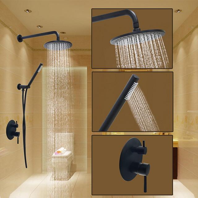 Double Shower Faucet Systerm Matte Black Round Oil-rubbed Bronze Shower System Ceramic Valve Bath Shower Mixer Taps / Brass