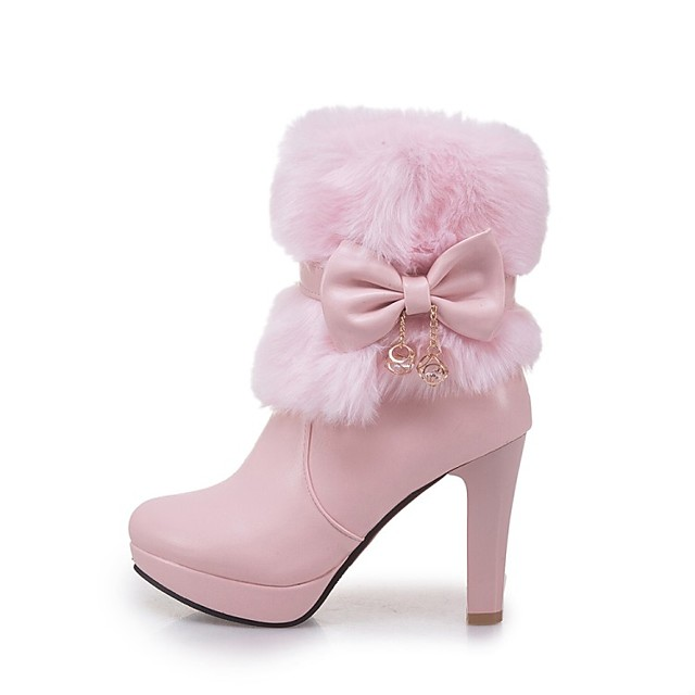 Women's Boots Chunky Heel Round Toe Bowknot Faux Leather Booties / Ankle Boots Fashion Boots Winter White / Black / Pink / EU39
