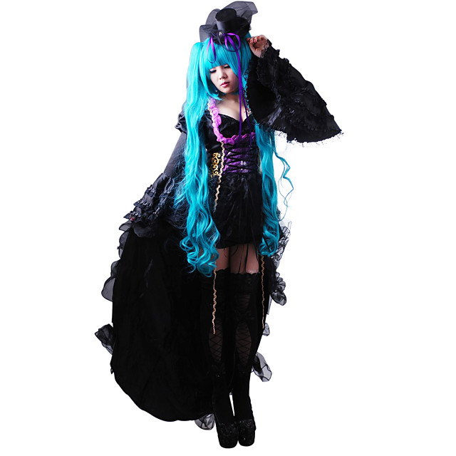 Inspired by Vocaloid Hatsune Miku Video Game Cosplay Costumes Dresses / Hat / Cap Solid Colored Long Sleeve Dress Hat Costumes / Satin