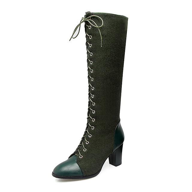 Women's Boots Knee High Boots Plus Size Chunky Heel Round Toe Vintage Ankle Strap Riding Boots Dress Zipper Lace-up Solid Colored Synthetic Nylon Leatherette Knee High Boots Winter Black / Green