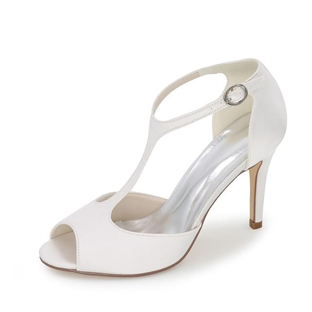 Women's Wedding Shoes Stiletto Heel Peep Toe Satin Basic Pump Spring / Summer Blue / Champagne / Ivory / Party & Evening