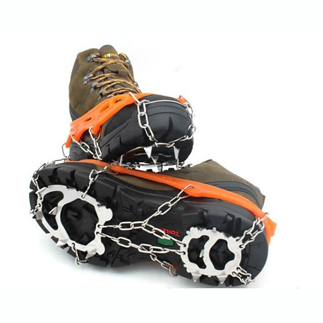 Traction Cleats Crampons Outdoor Non-Slip Stainless Steel Metal Alloy Rubber Climbing Outdoor Exercise Black Orange