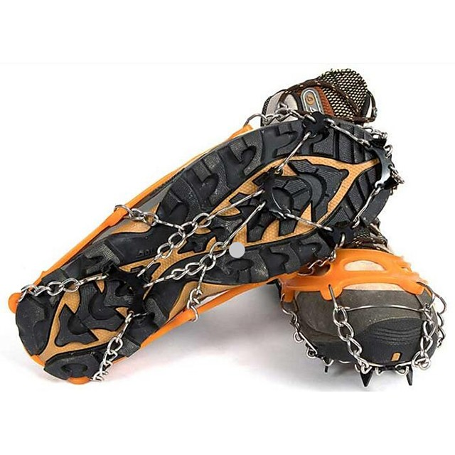 Traction Cleats Crampons Outdoor Non-Slip Metal Alloy Rubber Metal Climbing Outdoor Exercise Orange