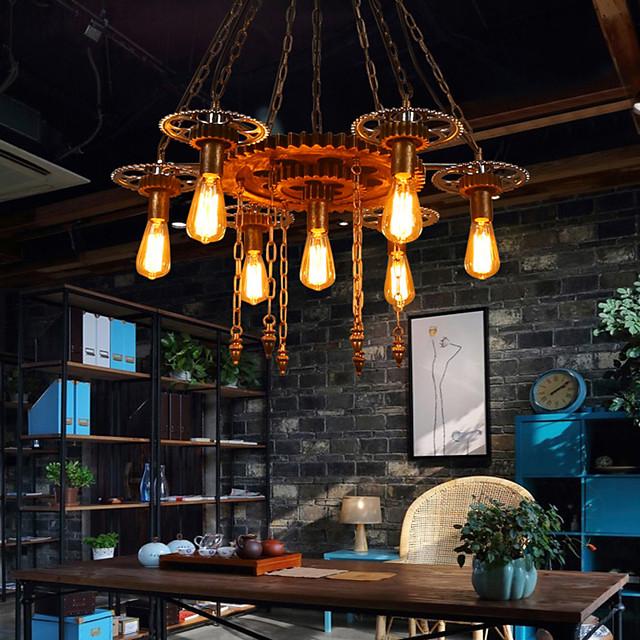 7-Light 90 cm Adjustable Pendant Light Wood / Bamboo Glass Industrial Painted Finishes Retro Vintage 110-120V 220-240V