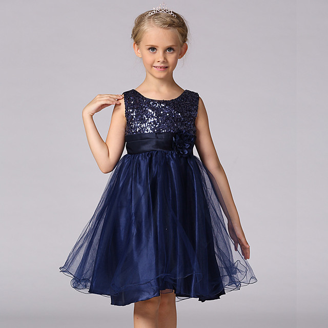 Kids Girls' Sweet Princess Party Floral Solid Colored Sequins Layered Sleeveless Dress Black