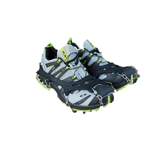 Traction Cleats Crampons Outdoor Professional Non-Slip Metal Alloy Rubber Metal Climbing Outdoor Exercise Black